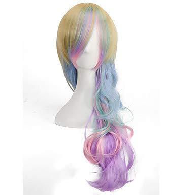 FUHOAHDD bunten Regenbogen Süßigkeiten Welle Perücken kawaill Art und Weise Langen Körper Rayon Lolita Perücken, 26 inch (Lange Regenbogen Perücke)