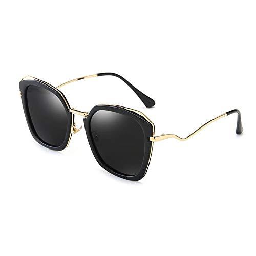 Thirteen Bunte Sonnenbrille Weibliche Polarisierte Sonnenbrille Rundes Gesicht UV-Schutz, Geeignet Für Dekoration, Sonnenschutz, Einkaufen, Reisen, Fahren. (Color : Black)