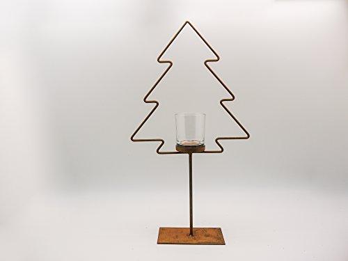 Kerzenhalter Tannenbaum Metall 52cm hoch mit Glas Weihnachten Rost Deko Baum Ständer Fenster-Dekoration