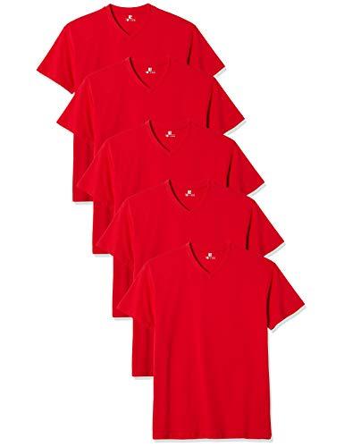 Lower East Herren T-Shirt mit V-Ausschnitt, 5er Pack, Einfarbig, Gr. Large, Rot