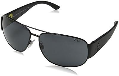 Polo Ralph Lauren PH3063, Gafas de Sol para Hombre, Negro (Matte Black 903887), Talla Única (Talla del Fabricante: One Size)