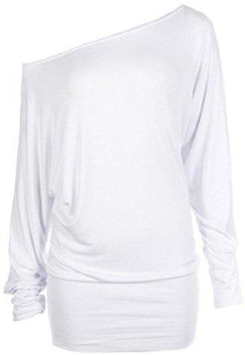 Mischen Sie viele neue Damen trendy aus Schulter baggy Fledermaus Klar Top Frauen-Mode sexy lange Hülse plus Soft-Touch-lässige Kleidung Top Größe 36-50 (XXL 48-50, Weiß) (Weißes Kleid Plus Größe)
