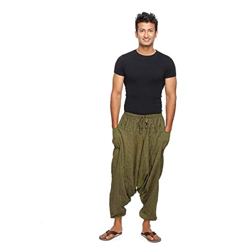 Simandra Singharaja Haremshose Pumphose Aladinhose Pluderhose Yoga Goa Freizeithose Herren Farbe Grün, Größe One Size