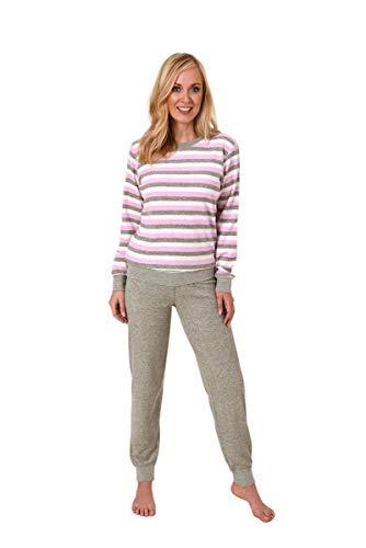 Unbekannt Damen Frottee Pyjama, Rundals, Ringel-Optik, Uni Hose, Rose/Grau, 61520, Gr. XL 48/50