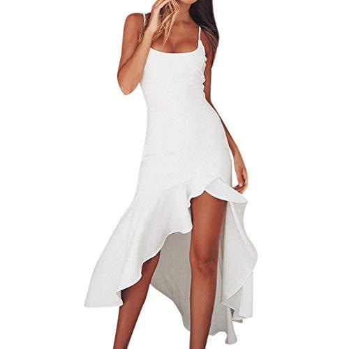 iHENGH Damen Frühling Sommer Rock Bequem Lässig Mode Kleider Frauen Röcke Sexy Rüschen Schulterfrei Ärmelloses Kleid Princess Dress(Weiß, L)