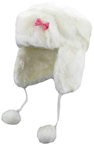 Insun Kinder Baby Fliegermütze Winter Mütze Warme Pilotenmütze Wintermütze Ohrenschützer Weiß 50cm