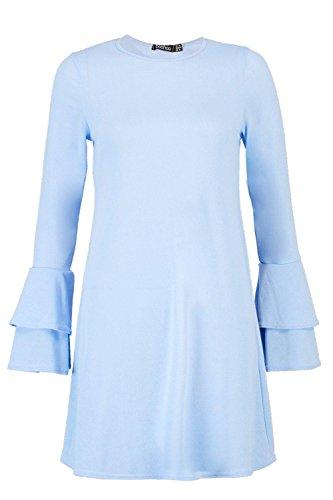 Damen Blau Megan Skaterkleid Aus Strick Mit Volant Und Ausgestellten Ärmeln Blau