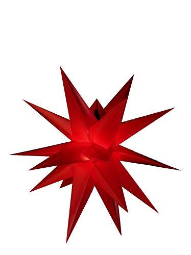 40 cm - Außenstern - Komplettset incl. Kabel & Glühbirne Outdoor Adventsstern Weihnachtsstern 3D Faltstern15 Zacken rot