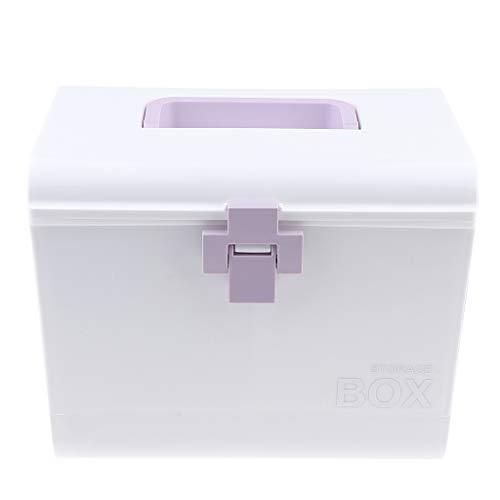FLAMEER Medizin Box Medizinbox Erste Hilfe Medizinschrank Hausapotheke Medikamente Organizer mit Tragegriff - Lila