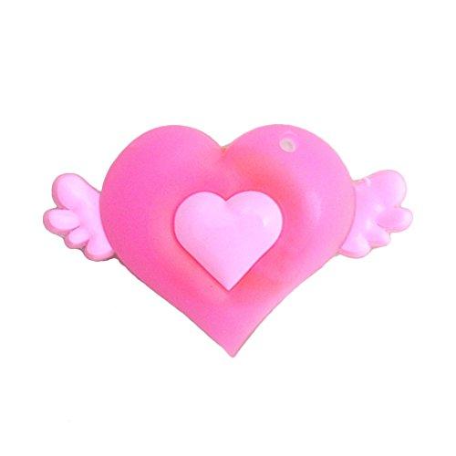 Angel Bling (6Stück schöne pink Angel LED Sticker Buttons mit Batterie, bling bling Zack Button, Anstecker, Anstecknadel, Ansteckpin, Ansteck Button)