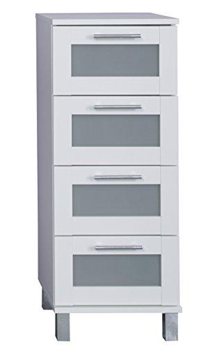 trendteam FLO80301 Badkommode Weiß Melamin, Glas Satniert, BxHxT 35x89x33 cm