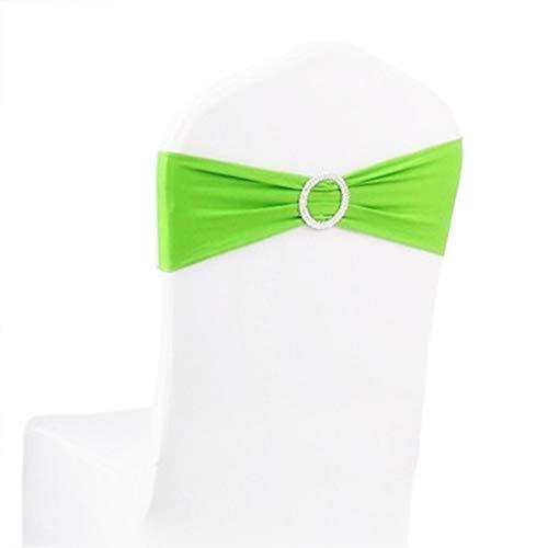 DaoRier Stretch Stuhlüberzug Schleifenband mit Runde Schnalle Hochzeitsdekoration für Bankett Hochzeitstag Parteien Stuhl Dekoration (Grün)