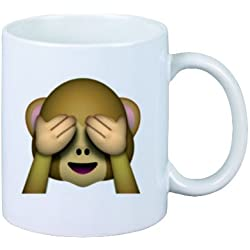 "Taza ""No-Mal ve el mono"" de cerámica, Smiley, Emoji, decoración, culto, Taza de café Taza de té, iPhone, emoticonos."