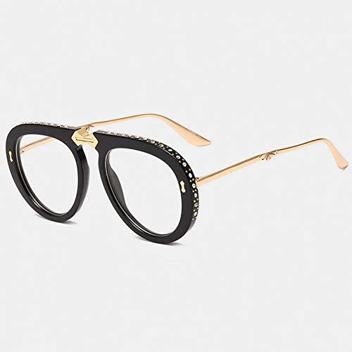 SYQA Sonnenbrille Faltbarer Rahmen Pilot Sonnenbrille Frauen Marke Strass Sonnenbrille Damen Retro Outdoor Reisebrille,C5