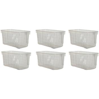 af6dba7407db Set Of 6 Clear Storage Caddy Baskets With Handle Easy Cupboard Storage  Solutions