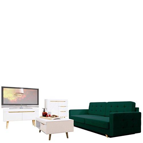 Wohnzimmer Set Nordi 8 + Sofa Vegas, Wohnzimmer Im Skandinavischen Stil.  Schlafsofa, Kommode, TV Lowboard Und Couchtisch, Komplett (Weiß / Weiß  Hochglanz + ...