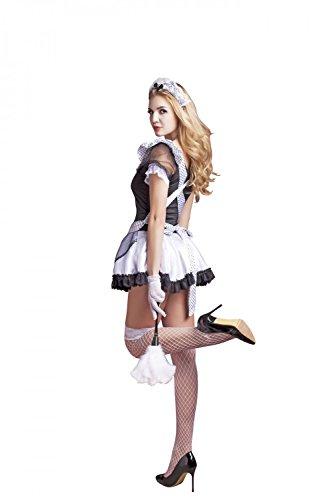 Damen 6 Teilig Dessous Set Mini Kleid Baby Dolls Hausmädchen Set Damen Maid Kostüm Reizwäsche Lingerie Nachtwäsche Cosplay Club Wear mit Band Gürtel und Staubwedel