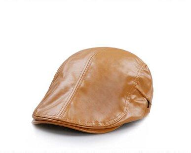 verstellbar Damen Herren Leder flach Gap Cabbie Hut Gatsby Ivy Caps Irish Jagd Mützen, Schiebermütze, Golf Hat, Berets Hat - Flache Leder Herren Mützen Für