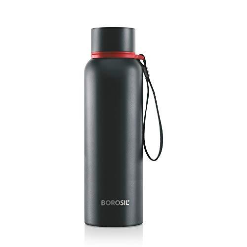 Borosil Stainless Steel Hydra Trek - Vacuum Insulated Flask Water Bottle, 850 ML, Black