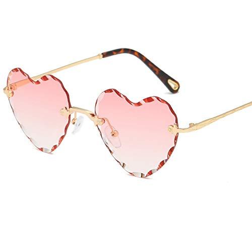 YLNJYJ Sonnenbrillen Liebe Herzform Sonnenbrille Frauen Randlose Rahmen Farbton Klare Linse Bunte Sonnenbrille Rot Rosa Gelb Schattierungen