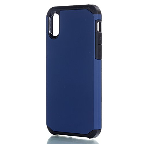 iPhone X Hülle, MOONMINI 2 in 1 Weich TPU Silikon Schale + Hard PC Dual Layer Hybrid Handy Tasche Case Slim Stoßfest Back Schutzschale Schutzhülle für iPhone X (2017) Schwarz Navy blau