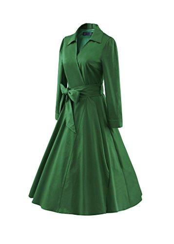 iLover Vintage POLO Collar Audrey robe de soirée cocktail, bal style années 50, Rockabilly, Swing GrassGreen