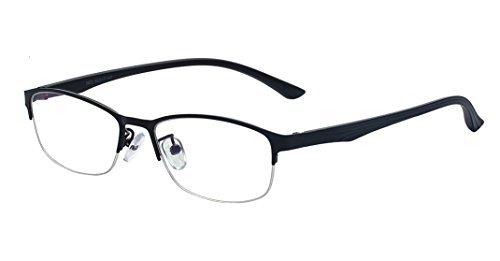 ckige moderne Halb Rahmen klare Linse Brille, verschreibungspflichtige Brille,Extra Schmaler Rahmen Slim Nerd Klare Brille(Schwarz (Nerd Outfits Für Männer)