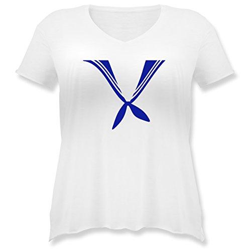 Karneval & Fasching - Matrose Kostüm Tuch - M (46) - Weiß - JHK603 - Weit geschnittenes Damen Shirt in großen Größen mit V-Ausschnitt (Matrose Kostüm Plus Size)