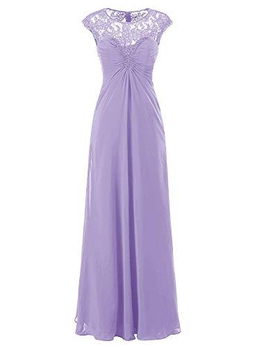 CLLA dress Damen Rundhals Abendkleider Lang Chiffon Spitze Ballkleider Elegant Brautjungfernkleider...