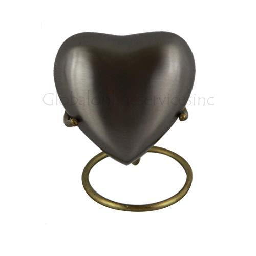 Herz-Andenken Urne für Asche - Lattice Floral Heart Keepsake Feuerbestattung Messing Urne mit Ständer -