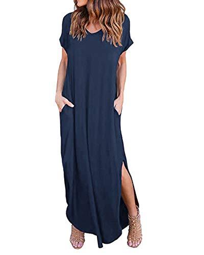 Kidsform Femme Robe ete Maxi Casual Manche Courte Col V Dress Plage Poche Tunique Longue, Marine, 44 EU (Fabricant: Taille XL)