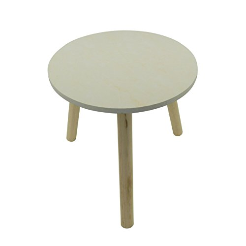 CVHOMEDECO. Table basse ronde de modèle élégant de marbre Table basse extensible de table d'accent CKD avec 3 jambes détachables. Blanc, Dia.33 x H33 cm