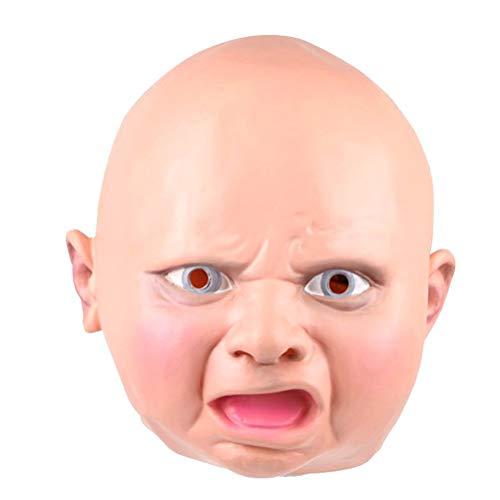 Kostüm Scary Baby - Bellecita Halloween Decor Angry Baby Latex Maske Kopf Maske Cosplay Party Kostüm Requisiten Scary Baby Maske Geschenk