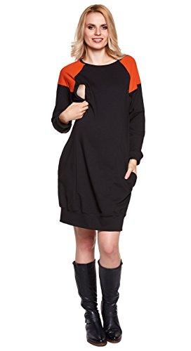 Be! Mama - 2in1 Umstandskleid, Stillkleid, Tunika. Modell: SPORTISSIMA, FARBAUSWAHL Schwarz/Orange