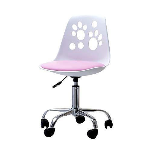 Selsey Foot - Schreibtischstuhl Kinderstuhl höhenverstellbar mit Rollen und Drehfunktion, Weiß/Rosa, 40 x 39 x 84 cm