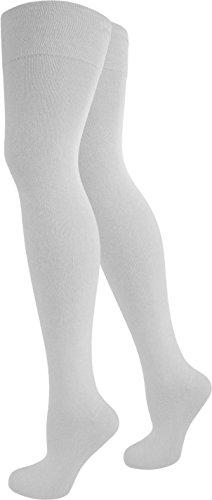 normani 1-10 Paar Damen Karneval Kostüm Fasching Baumwoll-Overknees Blickdicht Halterlose Strümpfe mit Streifen Farbe Weiß Größe 5 Paar
