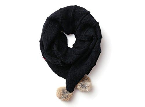 Moolecole Neue Art und Weise Kinder Schals Kids Schal Baby Mädchen Jungen Muffler Schal Warmer Neckchief Wollschals schwarz