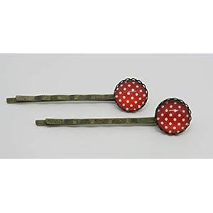2 Haarnadeln Glascabonchons rot weiß gepunktet