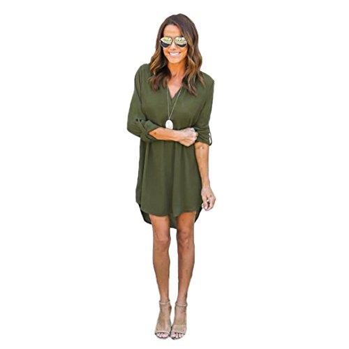 Vestidos para Mujer Fashion 2018,Sonnena Mujeres Bolsillo Vestido Suelto señoras Equipo Cuello Casual Tops Largo Vestido más tamaño (XL, Verde-3)