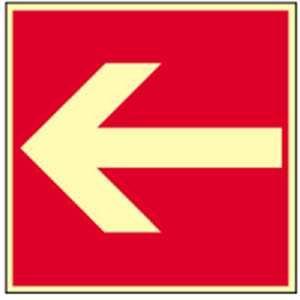 Brandschutzschild: Richtungsangabe HIGHLIGHT Alu 20,0 x 20,0cm Dieses Schild darf nur in Verbindung mit einem weiteren Brandschutzzeichen verwendet werden! gemäß ASR A 1.3/BGV A8/DIN 4844