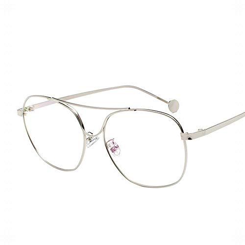 MAGAI Brillengestell aus Metall mit dünnen flachen Gläsern Student Brillen Durchsichtige Brillen Nicht rezeptpflichtig (Farbe : Silver)