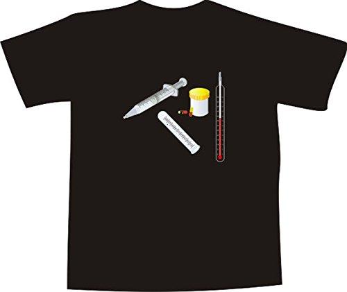 T-Shirt E187 Schönes T-Shirt mit farbigem Brustaufdruck - Logo / Grafik - Instrumente vom Arzt / Krankenhaus Schwarz