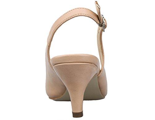 Greatonu Chaussures Femme Escarpins Sandales Suédé Mi Talon EU 36-41 Nude