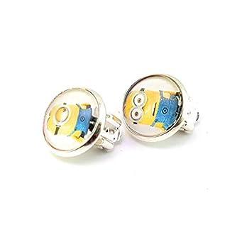 Stechschmuck Ohrclips Handmade Minions Gelb Silber Farben Damen Kinder Kitsch Kawaii 14mm 1 Paar Nickelfrei