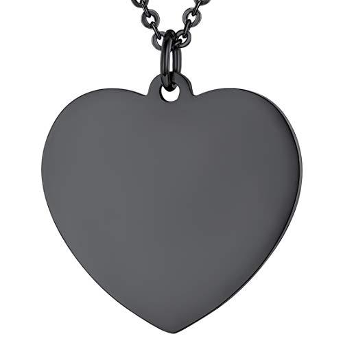 U7 Damen Herz Collier schwarz Edelstahl Herz Anhänger Halskette 2,5mm/55cm Modeschmuck für Frauen Mädchen Geburtstagsgeschenk