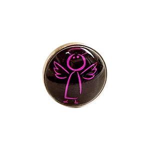 HaJuNa Magnetbrosche, Clip, Schmuckanhänger aus Edelstahl, 20mm, handgefertigt, Engel pink auf schwarz
