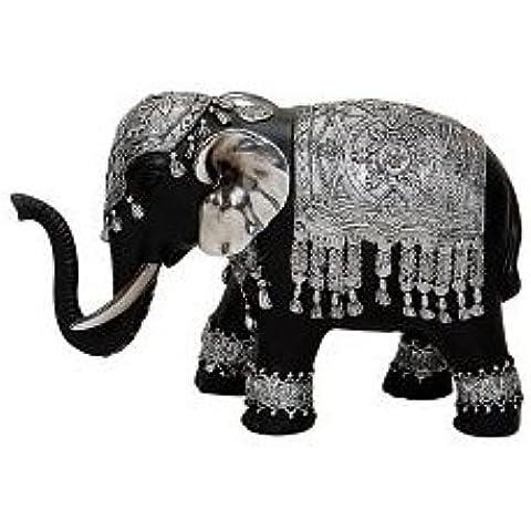 Bonita figura decorativa, diseño de elefante 20X 8X 13Cm), color negro y plateado