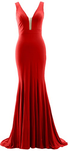 MACloth Mermaid Deep V Neck Simple Prom Gown Jersey Evening Formal Dress red