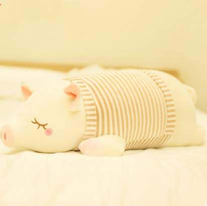 Piggy Plush Toy Doll Cute Bed With You Sleeping Pillow Doll Doll Doll Girl Hug Bear Super Cute Striped Pig Brown 50Cm
