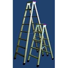 Escalera madera plegable tijera con soporte y tacos 4 peldaños